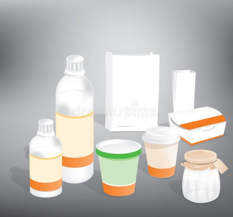 Bouteille en plastique et empaquetage de papier illustration stock