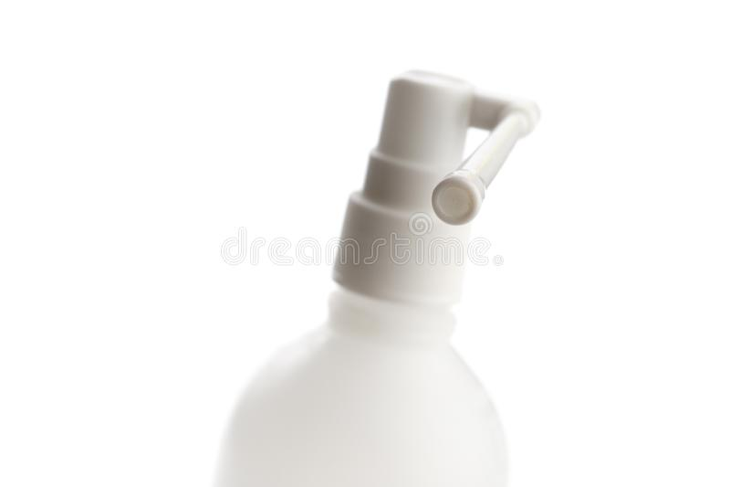Bouteille en plastique mate avec le long pulvérisateur de bec pour le jet oral illustration stock