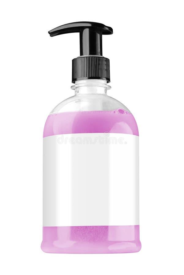 Bouteille en plastique transparente avec du savon liquide rose de main, le label vide et le couvercle noir de distributeur, d'iso photo stock