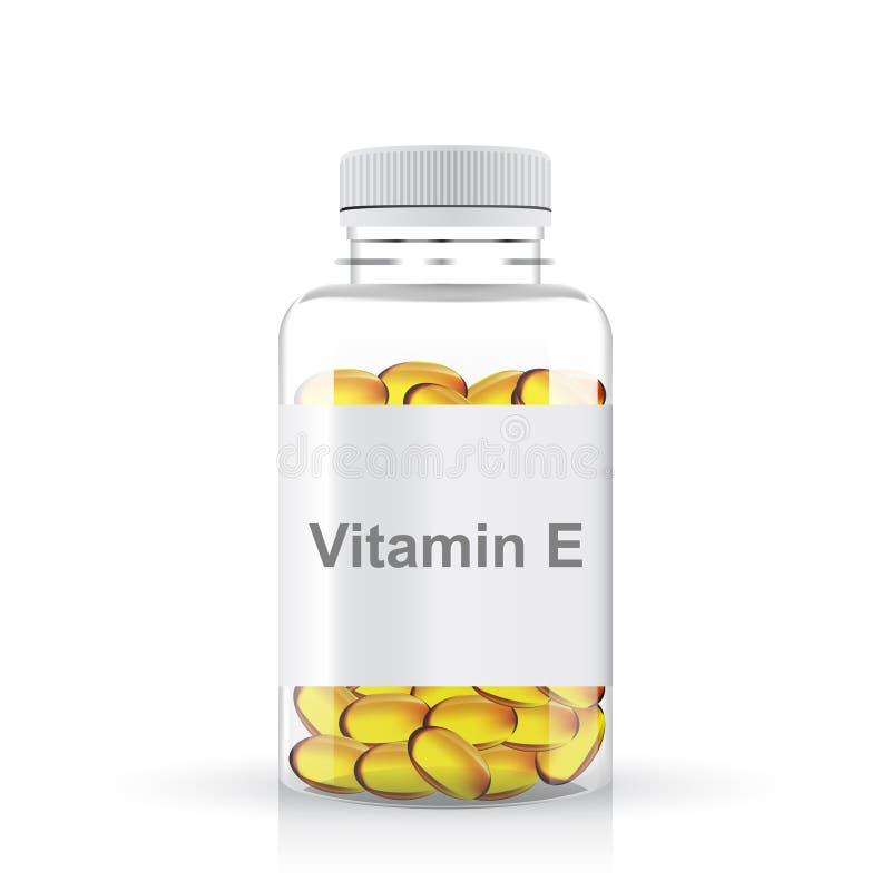 Bouteille en plastique transparente de pilules de la vitamine e illustration libre de droits