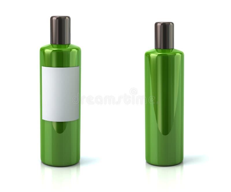 Bouteille en plastique verte avec l'illustration blanche vide du label 3d illustration de vecteur