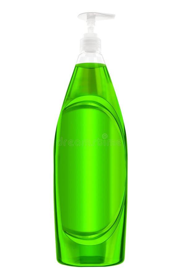 Bouteille en plastique verte avec le détergent de blanchisserie liquide image stock