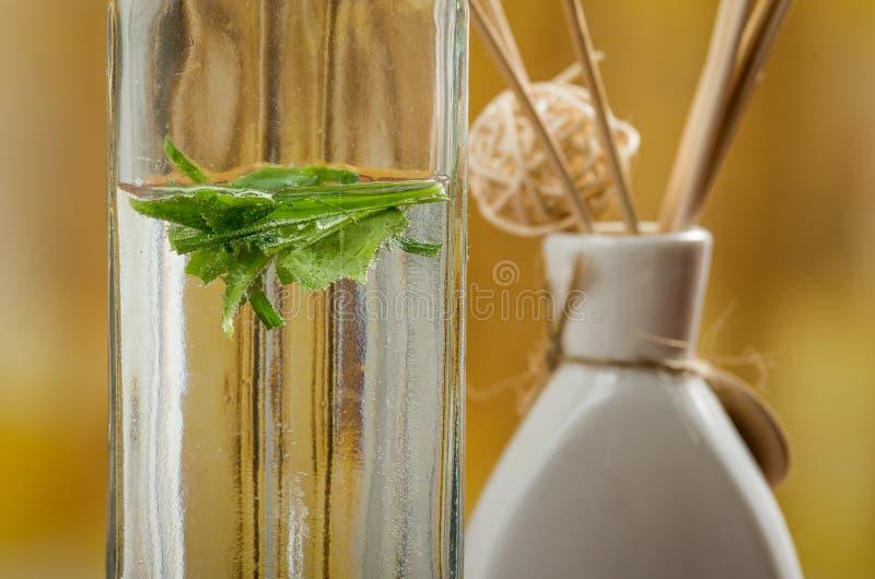 Bouteille en verre avec des feuilles et encens dans images stock