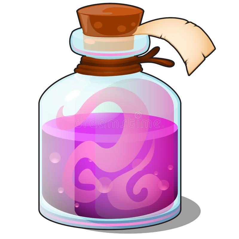 Bouteille en verre avec le tube fermé liquide de rose avec le label vide sur le fond blanc Élixir ou breuvage magique magique Vec illustration libre de droits