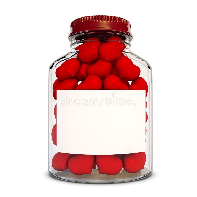 Bouteille en verre avec les coeurs rouges illustration stock