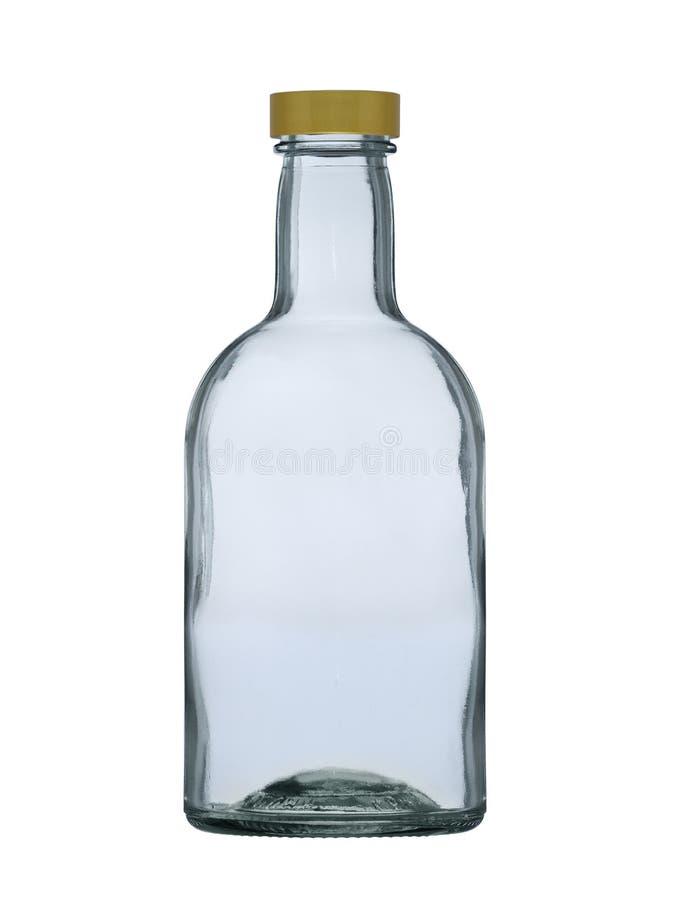 Bouteille en verre avec une couverture pour l'eau-de-vie fine, cognac, rhum, whiskey d'isolement sur un fond blanc image libre de droits