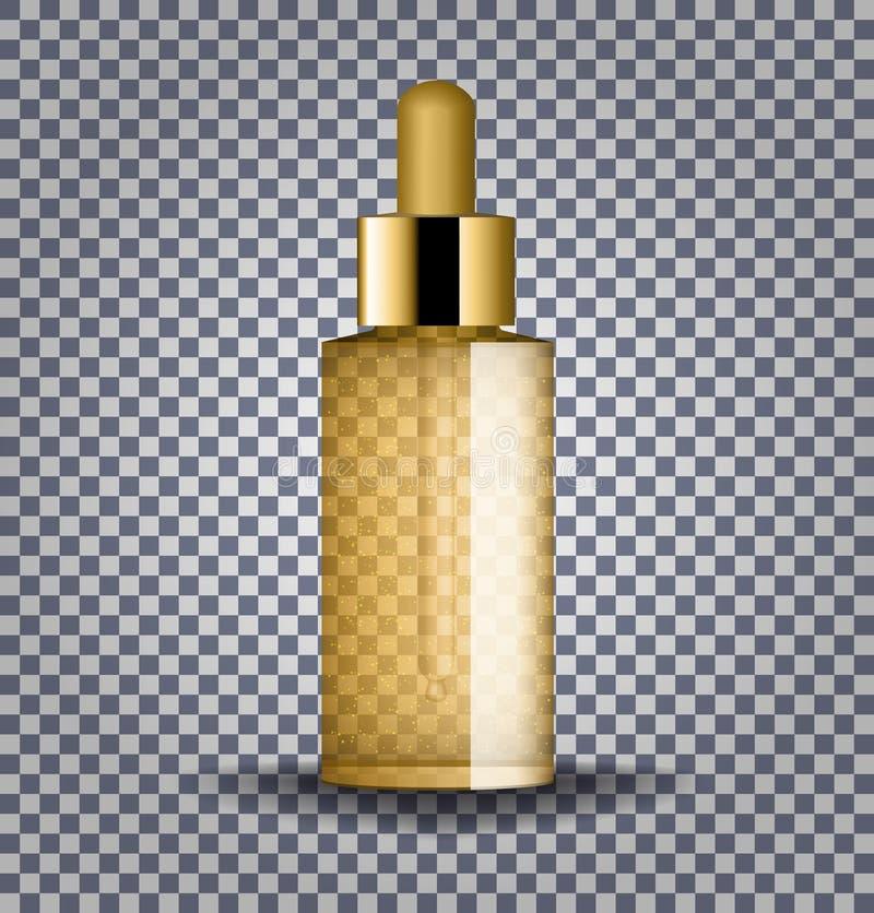 Bouteille en verre cosmétique d'or réaliste avec le compte-gouttes Fioles cosmétiques pour l'huile, sérum de collagène, liquide e illustration libre de droits