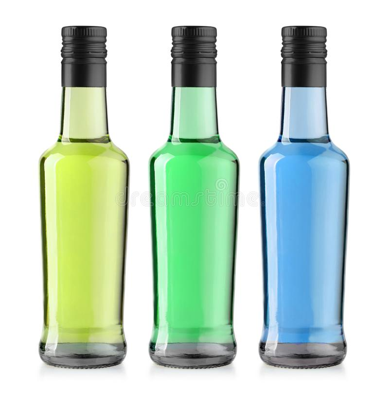 Bouteille en verre de boissons d'isolement photographie stock libre de droits