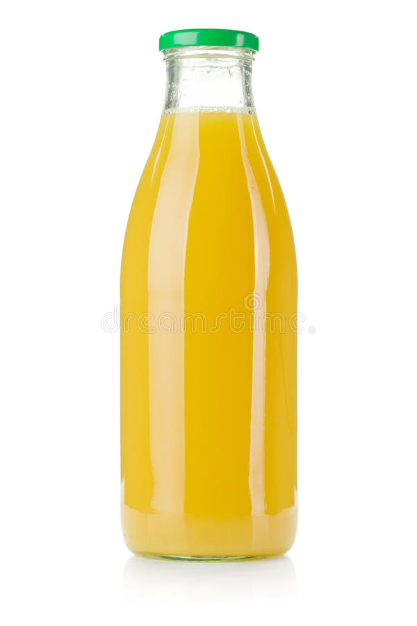 Bouteille en verre de jus d'ananas photos stock