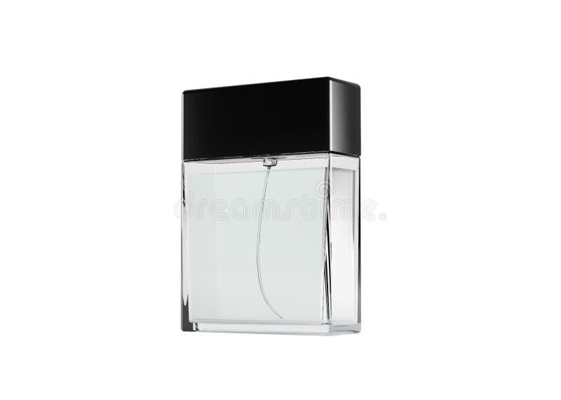 Bouteille en verre de parfum d'isolement sur le fond blanc, maquette pour la conception, temp illustration de vecteur