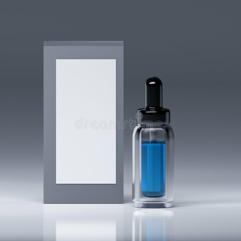 Bouteille en verre de sérum avec le liquide bleu à l'intérieur et avec de la pipette et du chapeau brillant noir illustration stock