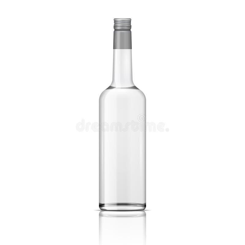 Bouteille en verre de vodka avec le couvercle à visser. illustration stock