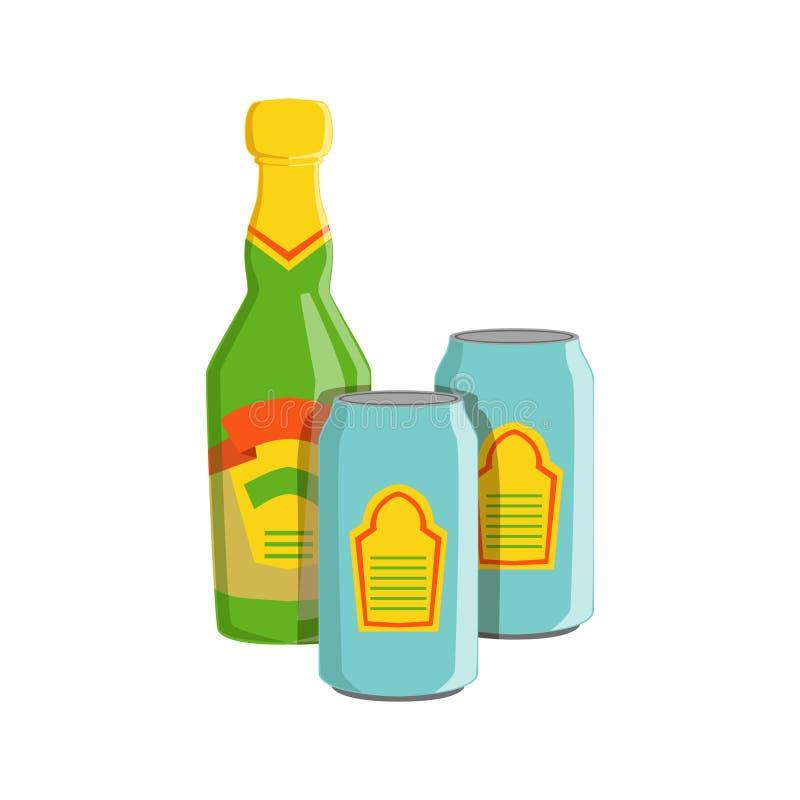 Bouteille en verre et deux Tin Cans With Lager Beer, commande de menu de barre de boissons de festival d'Oktoberfest illustration libre de droits