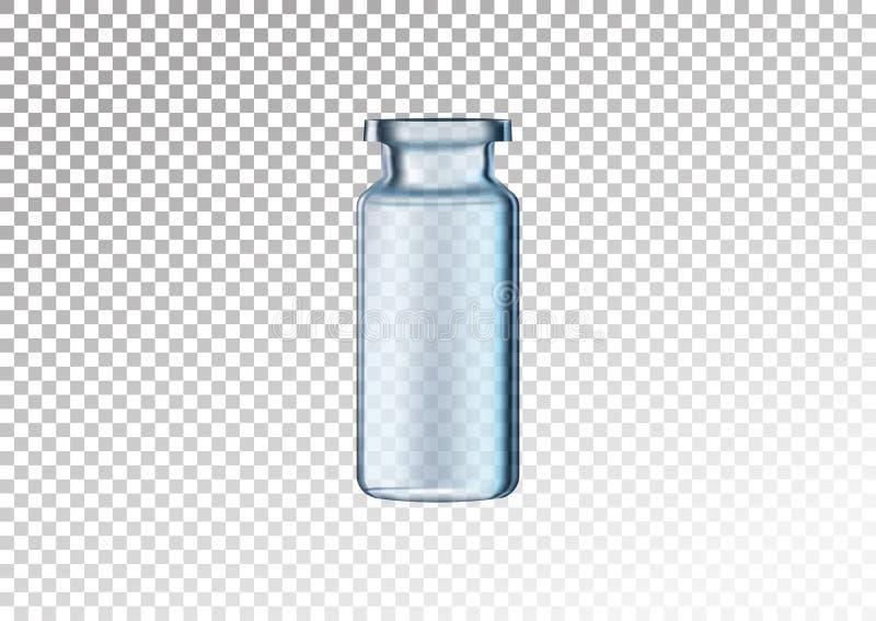 Bouteille en verre réaliste de vecteur Fioles cosmétiques pour l'huile, liquide essentiel, sérum de collagène Illustration de vec illustration libre de droits