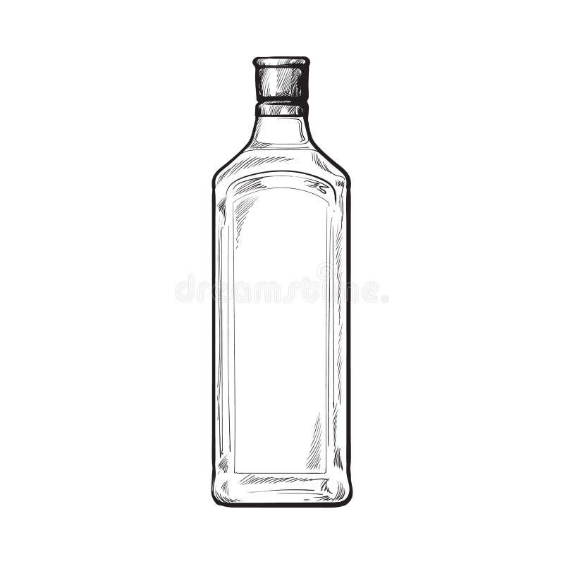 Bouteille en verre traditionnelle de genièvre bleu non étiqueté et non-ouvert, illustration de vecteur de croquis illustration libre de droits