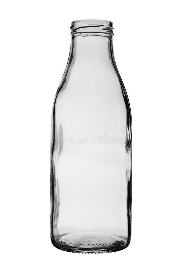 Bouteille en verre vide pour les boissons froides d'isolement sur un fond blanc photographie stock