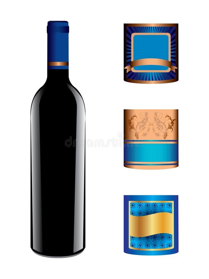 Bouteille et étiquettes de vin illustration libre de droits