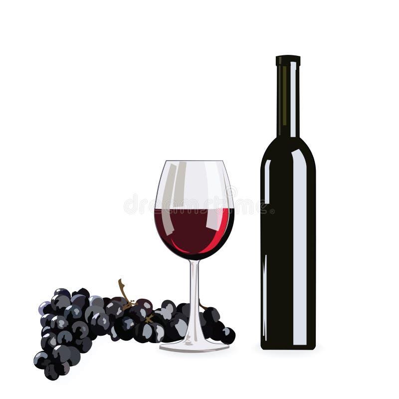 Bouteille et glace de vin rouge avec des raisins illustration de vecteur
