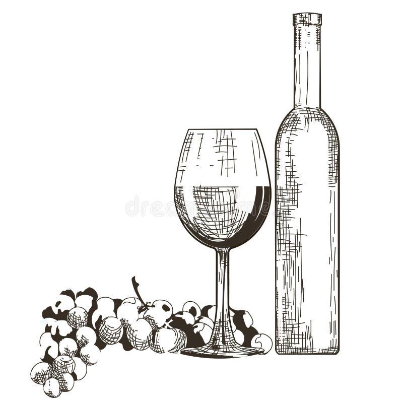 Bouteille et glace de vin rouge avec des raisins illustration stock