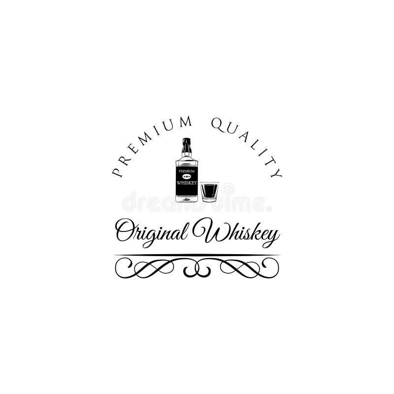Bouteille et glace de whiskey Boisson d'alcool de whiskey Remous, cadre en filigrane fleuri de flourish Vecteur illustration stock