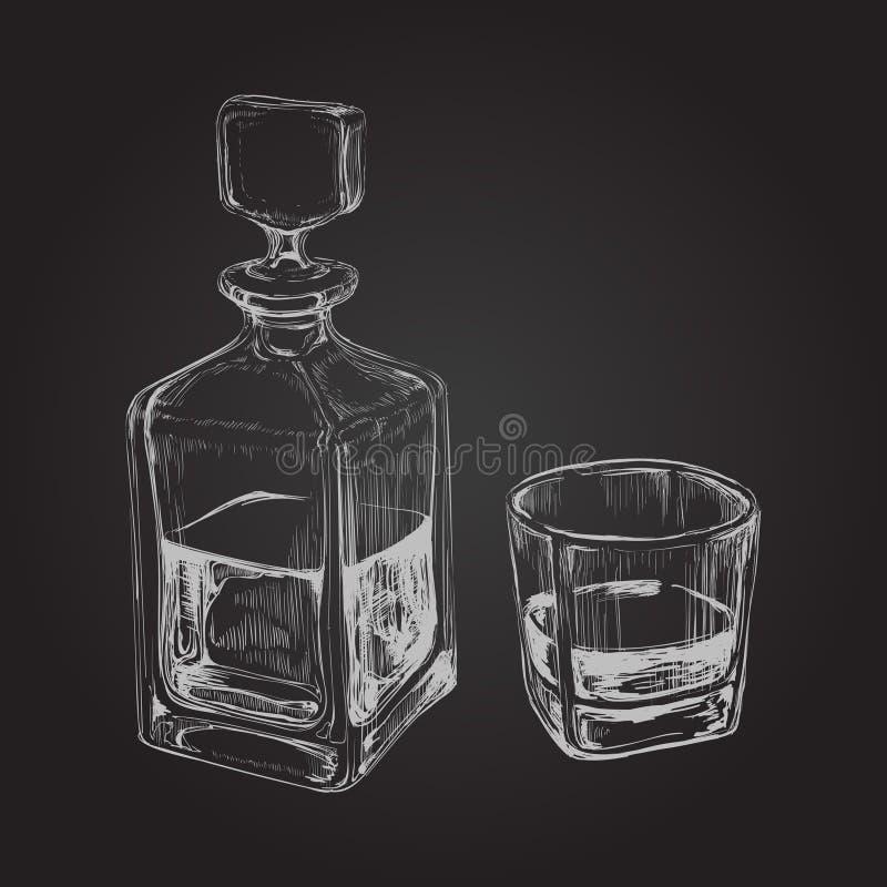 Bouteille et glace de whiskey Illustration tirée par la main de vecteur de boissons illustration stock