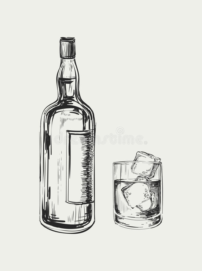 Bouteille et glace de whiskey Illustration tirée par la main de vecteur de boissons illustration de vecteur