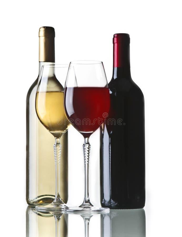 Bouteille et glaces de vin photographie stock