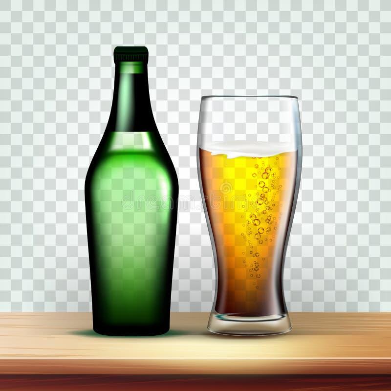 Bouteille et gobelet réalistes avec le vecteur mousseux de bière illustration stock