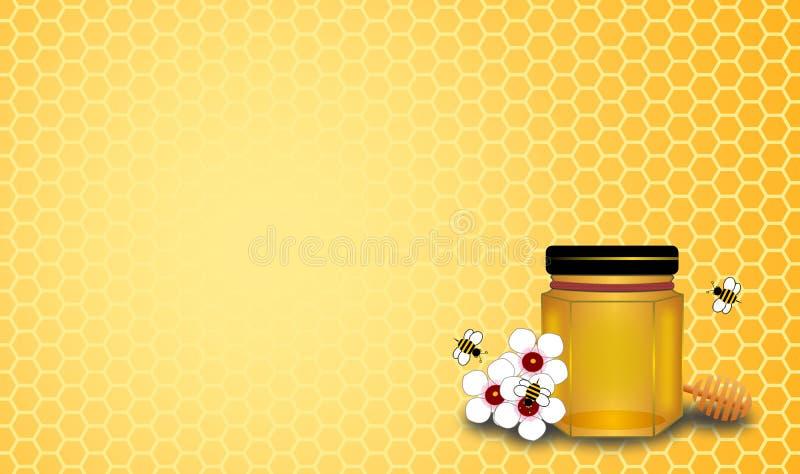 Bouteille et nid d'abeilles de miel avec trois abeilles sur des fleurs de manuaka illustration libre de droits