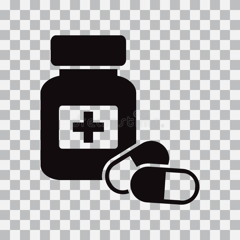 Bouteille et pillules de médecine Icône noire Illustration de vecteur illustration libre de droits