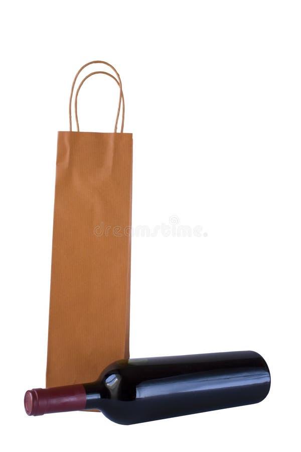 Bouteille et sac de vin photo stock