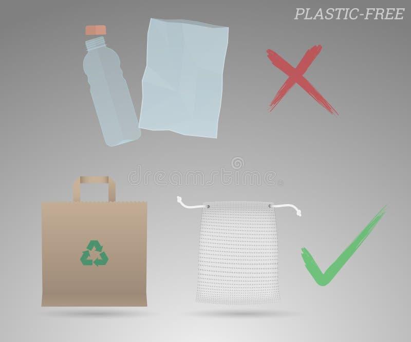 Bouteille et sac en plastique contre le sac de papier et l'illustration de sac de fruit, promotion libre en plastique illustration stock