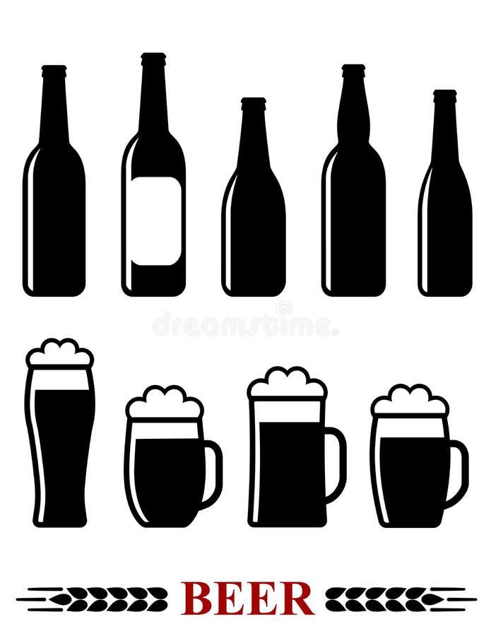 Bouteille et tasse à bière avec l'icône réglée de mousse illustration libre de droits