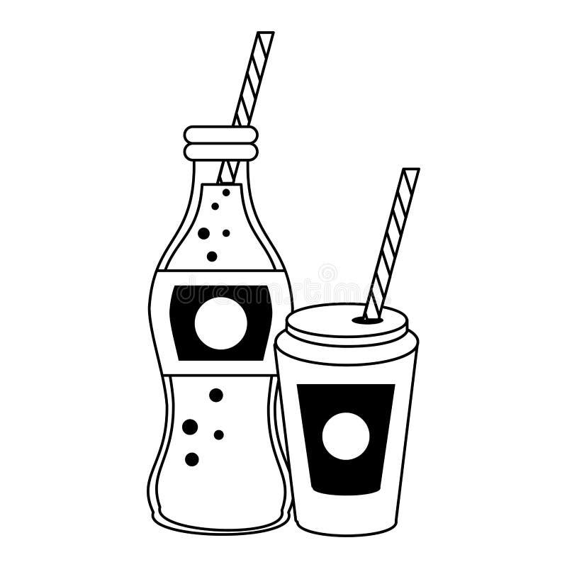 Bouteille et tasse de soude de kola à aller avec la paille en noir et blanc illustration de vecteur