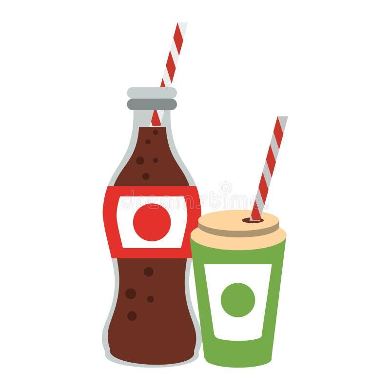 Bouteille et tasse de soude de kola à aller avec la paille illustration stock