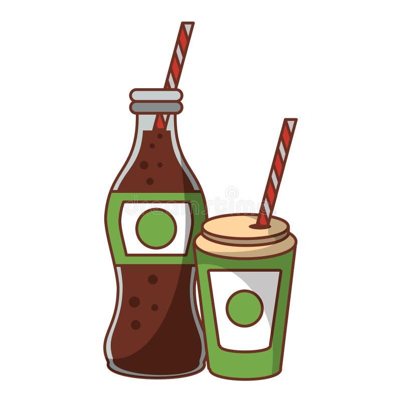 Bouteille et tasse de soude de kola à aller avec la paille illustration de vecteur