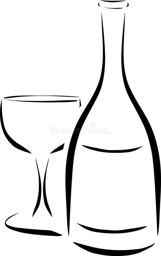 Bouteille et verre à vin illustration de vecteur