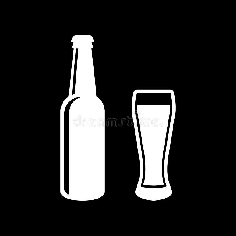 Bouteille et verre d'icône de bière Bière et bar, symbole de barre Ui web logo signe Conception plate app barre illustration libre de droits