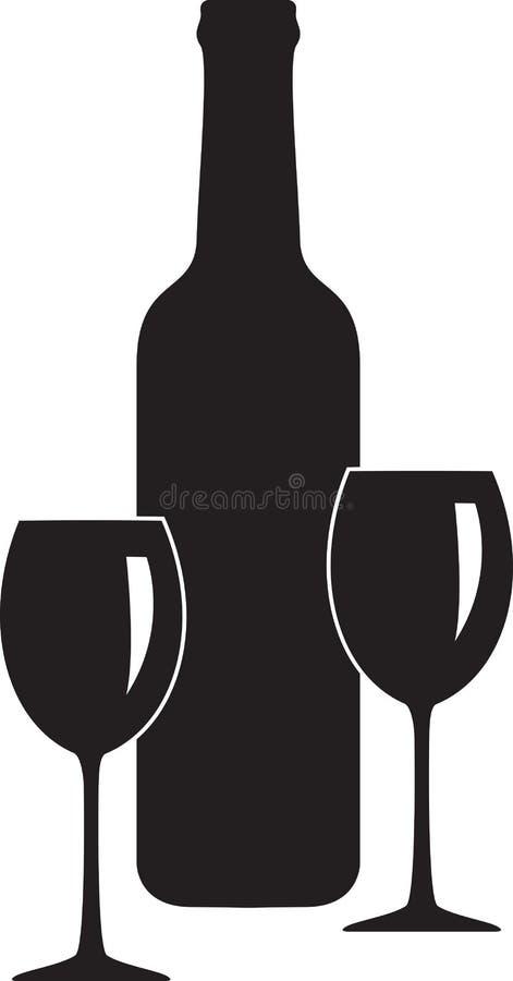 Bouteille et verre de vin illustration libre de droits