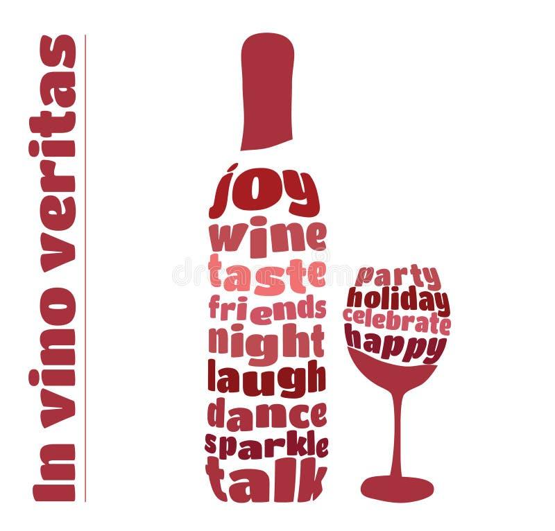 Bouteille et verre de vin dans le style de typographie illustration de vecteur