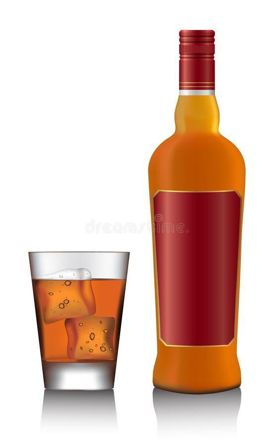 Bouteille et verre de whisky écossais et de glace illustration stock