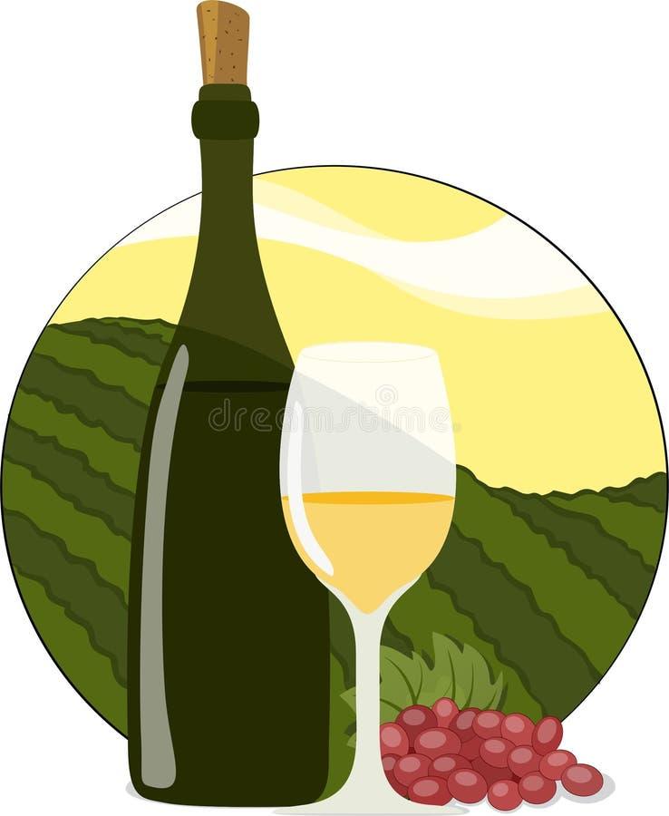 Bouteille, glace et raisins de vin blanc illustration de vecteur