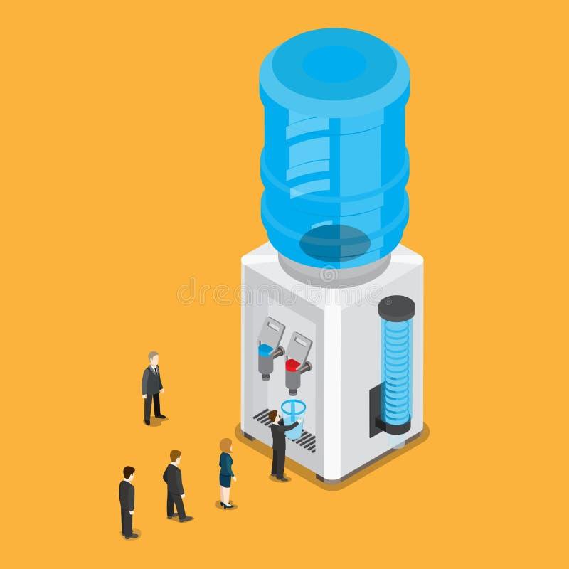 Bouteille isométrique plate de refroidisseur d'eau peop 3d illustration libre de droits