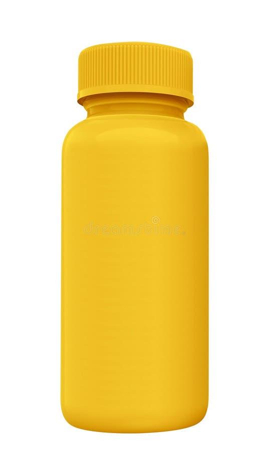 Bouteille jaune de moutarde d'isolement sur le blanc images stock