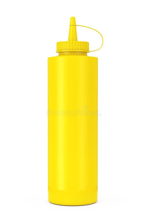 Bouteille jaune de sauce à moutarde rendu 3d photo stock