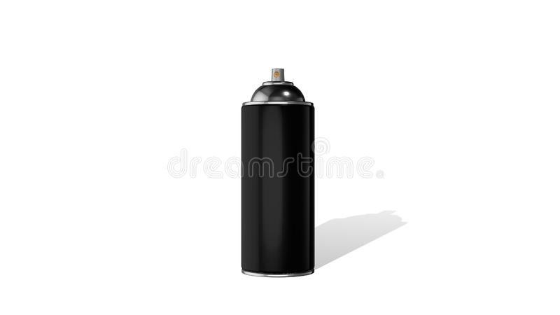 Bouteille noire en métal 3D de jet d'aérosol de peinture d'isolement sur un fond blanc rendu 3d illustration de vecteur