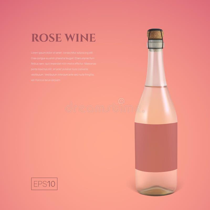 Bouteille Photorealistic de vin mousseux rosé sur un fond rose illustration de vecteur