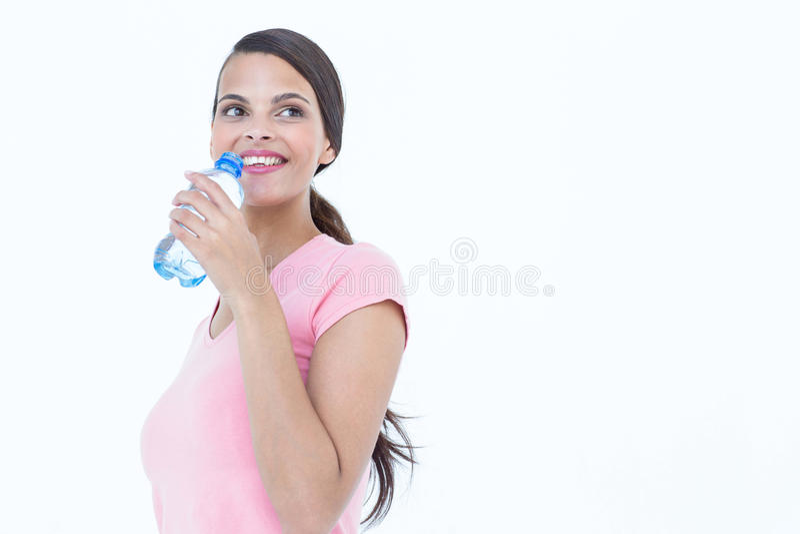 Bouteille potable de femme heureuse de l'eau images libres de droits