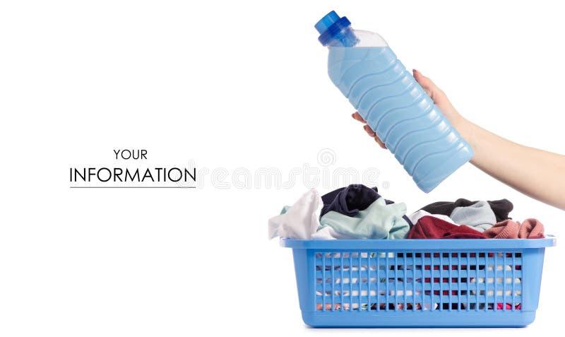 Bouteille propre de lavage sale de panier de blanchisserie de modèle disponible de poudre d'adoucissant liquide de conditionneur photographie stock
