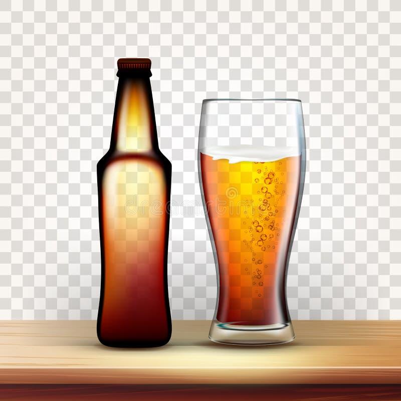 Bouteille réaliste et plein verre de vecteur rouge de bière illustration stock